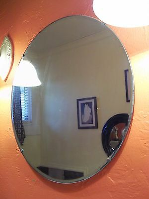 HOME ART DECO! WALL MIRROR SHABBY VTG USED BED/BATH ROOM ROUND BEVELED OLD EASY!