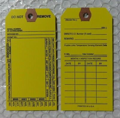 200-Plastic Fire Extinguisher  4-Year Inspection Tags...2020-2021-2022-2023