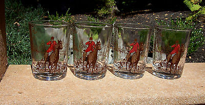 Gorgeous Federal 4 The Fox Hunt Shot Glasses Glass Set Horse Dogs Equestrian