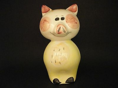 Vintage 1940's/50's Hand Painted Ceramic Smiley Pig Piggy Bank