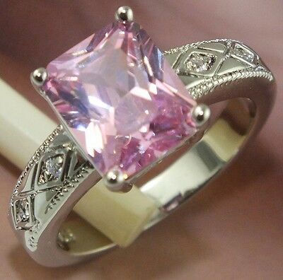 Nice! 1pc  925 sterling Silver Square Cubic Zirconia Rings Size 7
