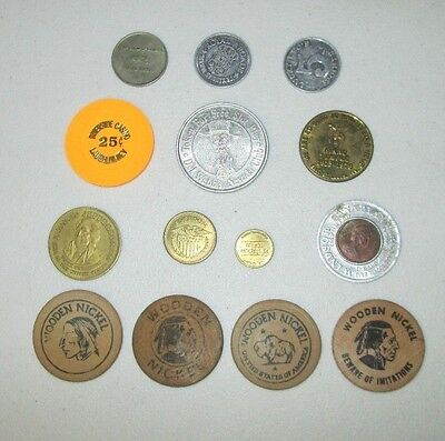 Lot of 14 Various Tokens Wooden Nickels Casino Chip Shriners Vintage to Modern