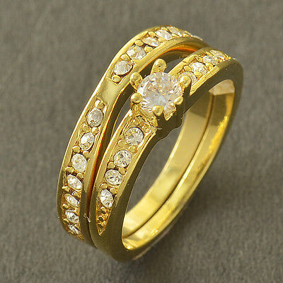 Attractive 9K Yellow Gold Filled CZ 2-Ring Wedding Engagement Set,Size 8,Z4081