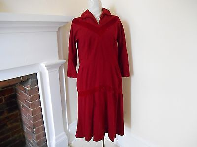 20s 30s Red Wool and Velvet Dress with Post WWI Depression Era Winter Holiday