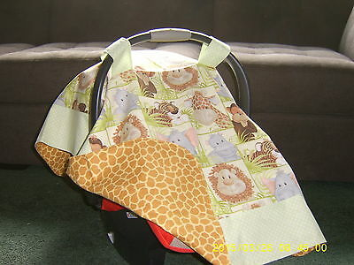 Handmade Baby Infant Car Seat Canopy-Cover Adorable Safari Jungle Animals babies