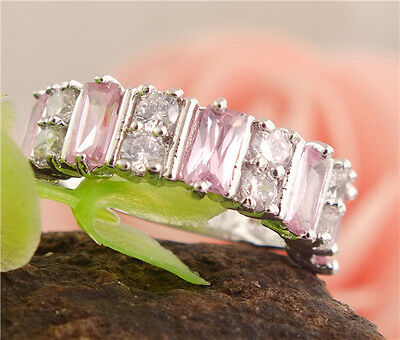 1pc Fashion 925 sterling silver Pink cubic zirconia Sweet Women's Ring Size6
