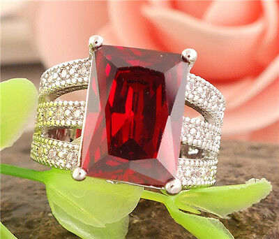 1 pc 925 sterling silver red charming gemstones noble lady's ring size 8