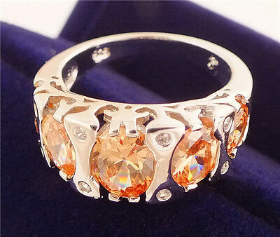Glitter 1pc 925 sterling Silver Dazzling Cubic Zirconia Party Rings Size7