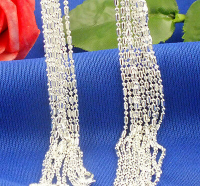 fashion 1.4mm 20inch 5pcs 925 sterling silver Hot Sale Beads Chain Necklace