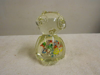 "crystal glass owl paperweight w/multi colors 5"" high 3"" wide"