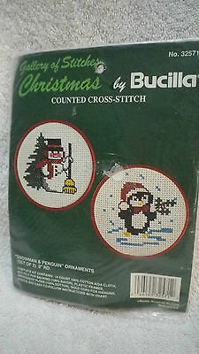 Bucilla gallery of stitches counted cross stitch kit SNOWMAN & PENGUIN ornaments