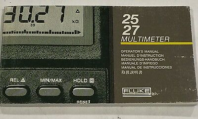 FLUKE 25/27 Multimeter Operator's Manual P/N 738088