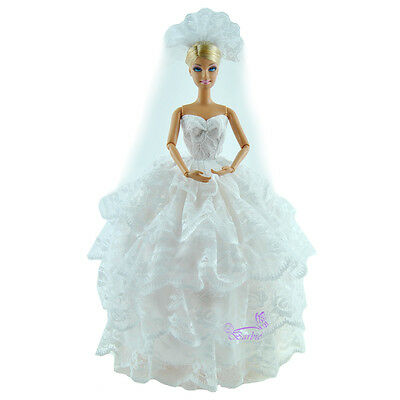 White Wedding Party Dress Princess Clothes Gown With Veil For Barbie Dolls