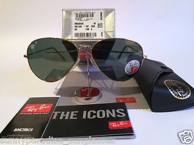 Ray ban Aviator 3025 Polarized lens with Gold frame 001 58 62 mm Sunglasses