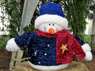 "Adorable Holiday Christmas Decorative Snowman 11"" Plush Stuffed Decoration"