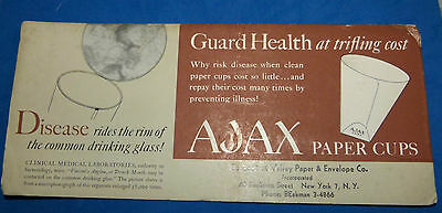 AJAX PAPER CUPS,Connecticut Valley Paper Co - USED BLOTTER .
