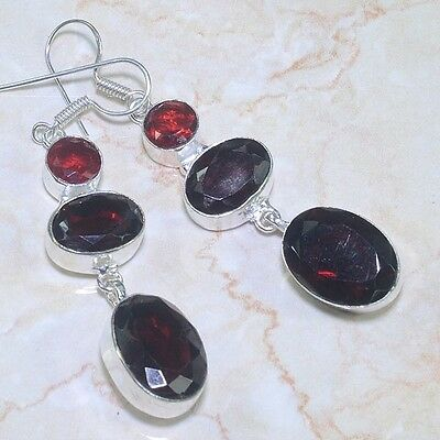 ARTISAN FACETED TABLE-TOP OVALS OF GARNET STERLING SILVER EARRINGS 925 ss  20 GR