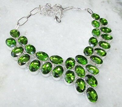 ARTISAN FACETED TABLE-TOP OVALS OF PERIDOT STERLING SILVER NECKLACE 925,  95 Gr