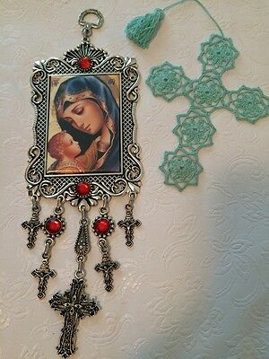 Framed Wall Hanging Tapestry Madonna & Child Icon Crucifix Cross