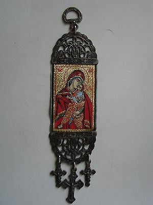 8'' Woven Wall Hanging Tapestry Madonna & Child Icon Crucifix Cross