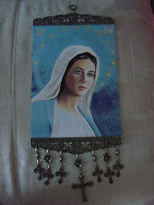 18'' Huge Woven Wall Hanging Tapestry Mary Madonna Icon Crucifix Cross