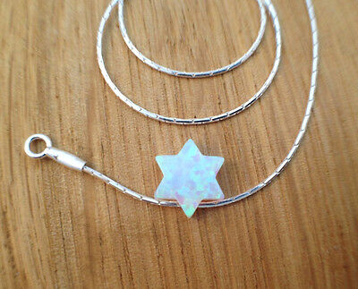 Star of David white opal necklace, Sterling Silver Chain, jewish charm jewelry