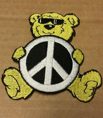 """Grateful Dead? PEACE SIGN BEAR PATCH Yellow  3"""" TALL x 2 3/4"""" WIDE Embroidered"""