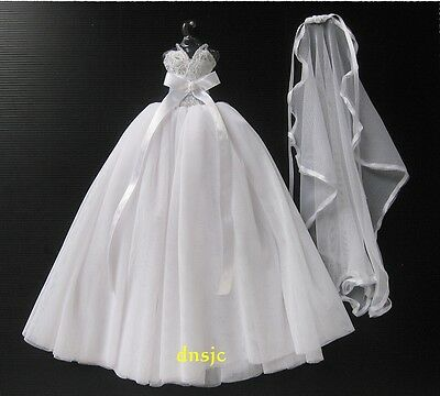 White Wedding Gown Party Costumes for Barbie, Dolls Dress up Handmade Outfit 3+y