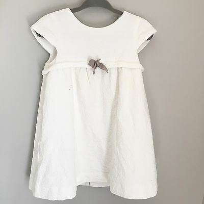 Baby Zara White Dress Toddler Baby Girl Bow Beautiful Size 24-36M Spain Outfit