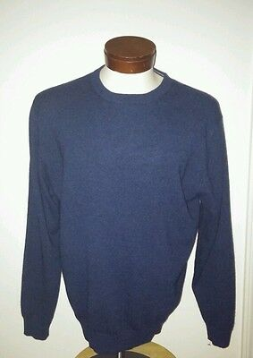 Daniel Bishop Men's 100% Cashmere Casual Crew Neck Blue Pullover Sweater MINT