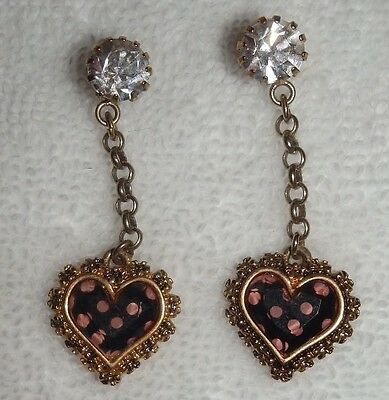 10  PAIR BETSEY JOHNSON EARRINGS HEART, PEARL, BOWS, LOVE, PINK,POLKA DOT,WINTER