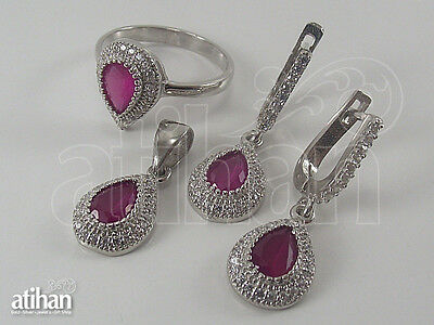 925 STERLING SILVER WOMAN'S SET EARRING PENDANT RING WITH RUBY & WHITE CZ