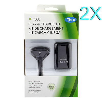 2X4800mAh Rechargeable Battery Pack F XBOX 360 Wireless Controller Charger Cable