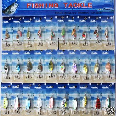 Lot 30pcs Metal Fishing Lures Spinner Baits Crankbait Assorted Spoon Hook Tackle