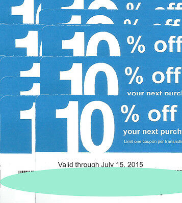 10 Ten Lowes 10% Coupon Cards Exp7/15/15 Use At Competitors Home Depot etc