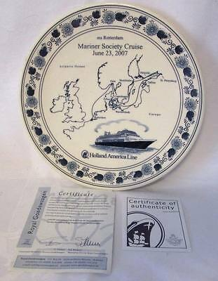 "Royal Goedewaagen~SOUVENIR PLATE""MARINER SOCIETY CRUISE 2007"" w/CERTIFICATE~euc"