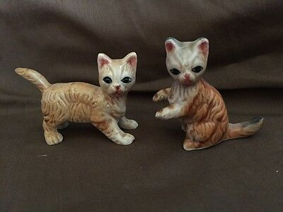 Pair Of Vintage Lego Bone China Miniature Cat Figurines