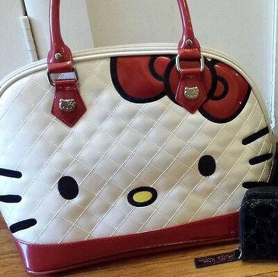 HELLO KITTY FACE QUILTED PURSE BIG SATCHEL HAND BAG LOUNGEFLY CUTE KAWAII TOTE