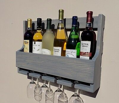 Handmade 6 Bottle Wall Mount Wine Rack With 4 Glass Holder Weathered Grey Finish