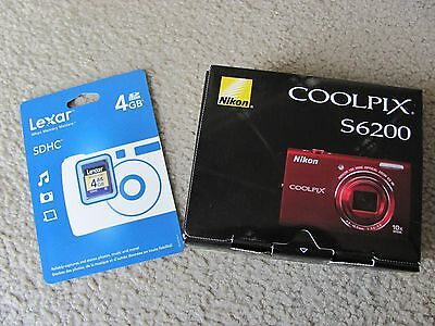 Brand New Nikon COOLPIX S6200 16.0MP HD 720p Digital Camera Red+4GB