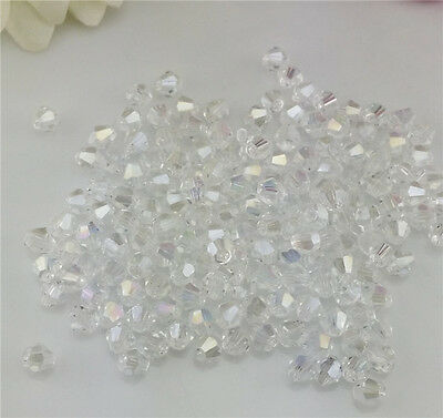 Free Shipping DIY jewelry 100Pcs White 4mm # 5301 Bicone Crystal Beads