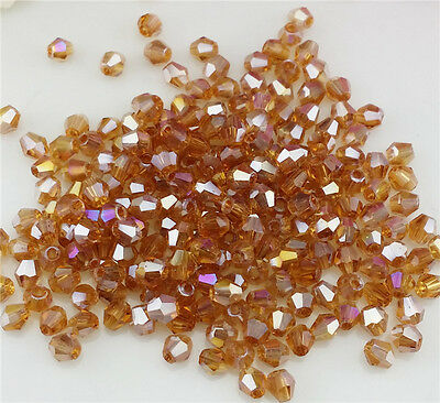 Free Shipping DIY jewelry 100 PCS Amber 4mm # 5301 Bicone Crystal Beads New