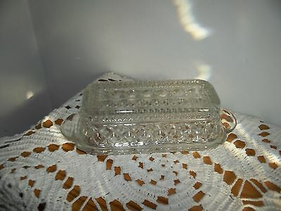 Vintage Anchor Hocking WEXFORD Covered Butter Dish Diamond Cut Glass