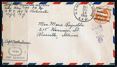 WWII USA Army Censor Cover 1943 APO 464 New York to Rossville Illinois