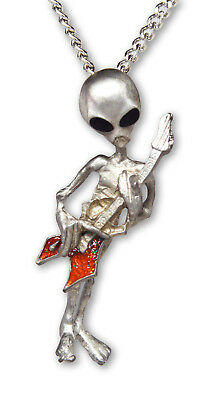Alien Playing Guitar with Hand Painted Enamel Accents Pewter Necklace NK-256