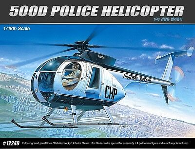 Academy 1/48 Scale Plastic Model Kit 500D Police Helicopter 12249 NIB