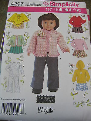 """Simplicity 4297 NEW UNCUT sew pattern 18"""" DOLL CLOTHES AMERICAN Poncho +"""