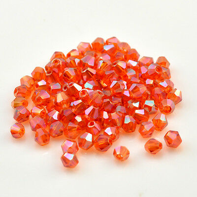 Free shipping 100 PCS DIY glass crystal beads 4 mm double cone  ZJ50