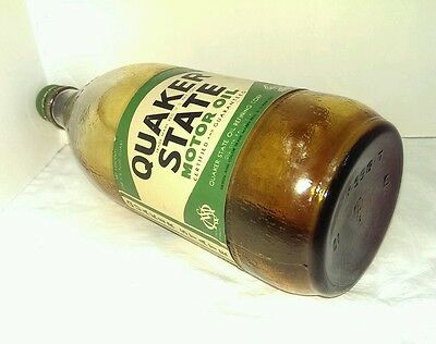 Rare 1940's WWII Era QUAKER STATE MOTOR OIL Old 1 qt Glass Bottle Can Vintage