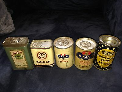 Antique Spice Can lot ASCO JEWEL RAJAH CUPP Grocery 1928  Johnstown PA Estate